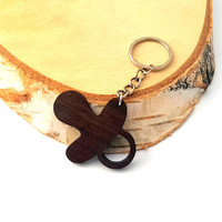 Wooden Baby SHOOTER Keychain, Walnut Wood, Baby Keychain, Environmental Friendly Green materials