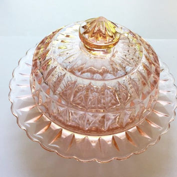 Jeannette Pink Depression Glass Round Butter Dish with Lid, Pink Windsor Diamond Butter Dish