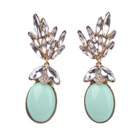 Mint Oval Fashion Earrings