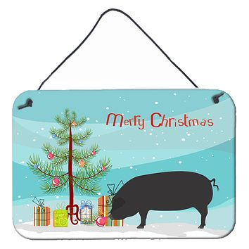 Devon Large Black Pig Christmas Wall or Door Hanging Prints BB9298DS812