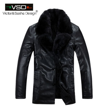 Fashion Winter Men's Coats Imitation Leather Jacket Mink fur Collar Leather Jackets Men High Quality