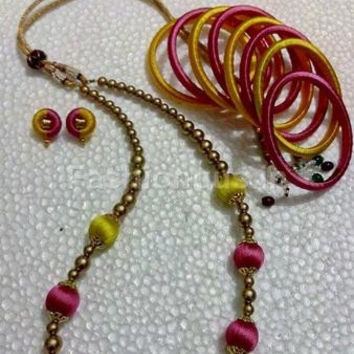 Pink and Yellow beads Silk Thread full set