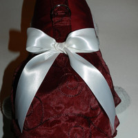 Custom Fancy Burgundy Wedding Bridal Party Gown Satin & Embroidered Organza Harness Dress for your Cat, Dog or Ferret.
