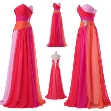 New Ladies Strapless Chiffon Bridesmaid Evening Formal PartyGown Long Prom Dress
