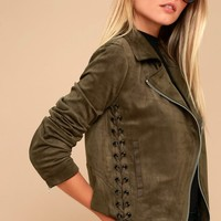 Good Luxe Olive Green Lace-Up Suede Moto Jacket