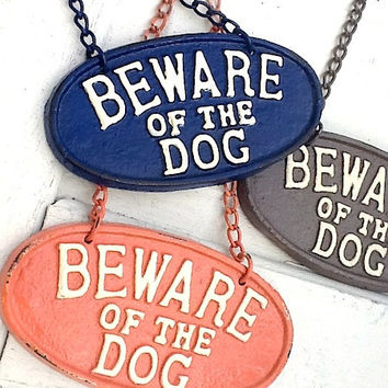 Puppy Sign , Beware of Dog Sign, Vintage Inspired Sign, Blue Sign, Retro, Man Cave, Cast Iron Sign