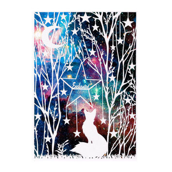 Fox Papercut - Original Art - Galaxy Art Print - Personalized Print