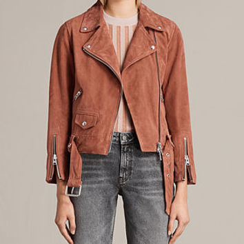 ALLSAINTS US: Womens Suede Cole Biker Jacket (ROSE PINK)