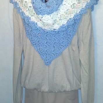 Road Trip Lacey Scarf in Light Blue With White and Variegated Colored Trim