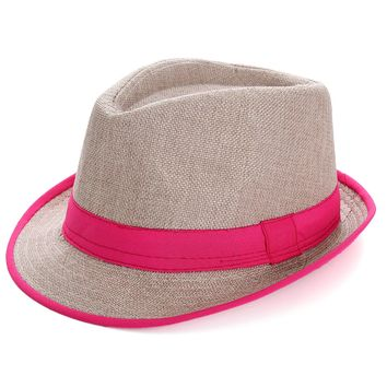 Men Women Panama Fedora Sun Cap Trilby Straw Gangster Beach Neon Hat