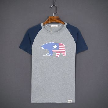 Short Sleeve Summer Round-neck Cotton Rinsed Denim T-shirts [10510794051]