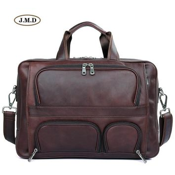 J.M.D Guarantee Genuine Cow Leather Brown Red Men's Business Portable Travel Bag Unique Design Briefcases Laptop Handbag 7289X