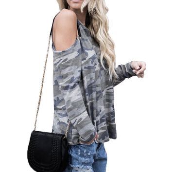 Women Round Neck Off Shoulder Loose Casual Baggy Tops Shirt