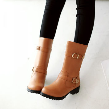 Buckle Women Mid Calf Boots PU Leather Shoes Woman