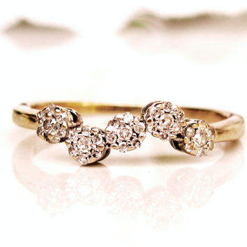Vintage Diamond Cluster Wedding Band 10K Two Tone Gold Ladies Diamond Wedding Ring Diamond Anniversary Ring Unique Wavy Floral Ring Size 7