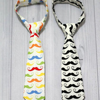 Baby Boy Mustache Neck Tie. Various sizes, Choose color.
