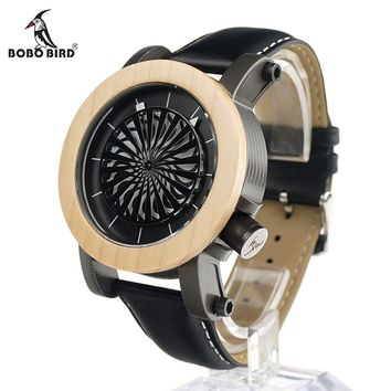 BOBO BIRD V-M07 Mens Mechanical Wristwatches Kinetic Art Skeleton Automatic Self-Wind Watch with Maple Bezel in Gift Wooden Box