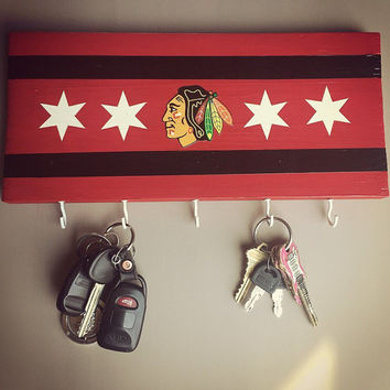 Chicago Blackhawks Hockey key chain holder; hand painted gift; keychains; nametags; hockey lover keychain; home decor; man cave; Fathers day