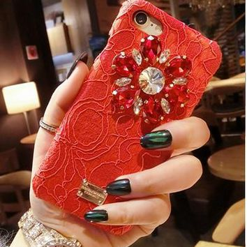2017 Italy Rhinestone Case Promotion Luxury Diamond Flower Lace Phone Case hard Cover For iPhone 7 7plus Rainbow Lace Crystal Cases -171204