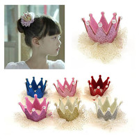 Girl Glitter Crown Clips Photo Prop, Birthday Crown, Party Hat