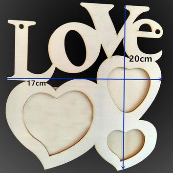 2017 Romatic Hollow Love Letters Wooden Photo Frame DIY Picture Frame Art Decor White Heart Pattern Warm Photo Frames &ST87