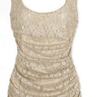 Beige Lace SleevelessPleated Dress