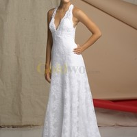 [US$228.99] Casual White Halter Deep V-Neck Floor Length Satin Lace Wedding Dress