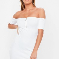 Missguided - Petite White Zip Front Ribbed Bardot Dress