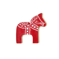Valentine's Day Ornament Made to Order Swedish Dala Horse red ornament with white handpainted heart designs wood ornament