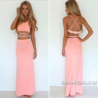 Pop Women Sexy Blouse Vest Top Party Dress Bandage Maxi Long Skirt Two Piece Set