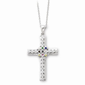 Sterling Silver The Lord Is My Shepherd Cross Necklace