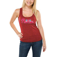 5th & Ocean Philadelphia Phillies Women's Heather Red Tri-Blend Tank Top