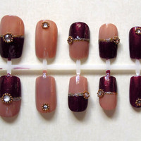Maroon and Nude Japanese Inspired Fake Nails with Gold Beads and White Rhinestones
