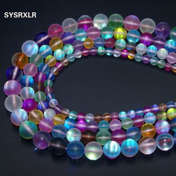 Free Shipping Color mixing Austria Crystal Synthesis Moon Stone Beads For Jewelry Making 6 8 10 12 MM DIY Bracelet Strand 15''