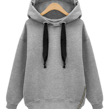 Zipper Ribbed Hem Hooded Sweatshirt