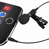 Lavalier Lapel Microphone - Clip-on Omnidirectional Condenser Mic for Apple iPhone, Android, PC, Mac, iPad, iPod Touch, Samsung and Windows Smartphones. For Podcast, Radio and Video Recording
