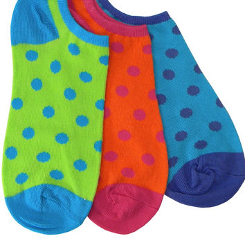 Three Pack Polka Dot Footie Socks in Turquoise, Lime, and Orange