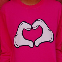 Cartoon Hands Love Long Sleeved T-Shirt. Customize To Size And Color.