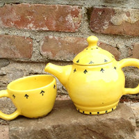 Yellow Pesonal Tea Set with cobalt blue design - Hand thrown Stoneware Pottery - ceramic tea pot and one tea cup