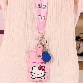 Cartoon Hello Kitty PU Leather lanyard Credit Card ID Holders Bag Women Travel Bank Bus Business Keyring Key Wallet Chain Case