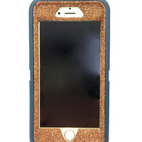 iPhone 6 (4.7 inch) OtterBox Defender Series Case Glitter Cute Sparkly Bling Defender Series Custom Case  Deep water blue / sunstone