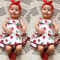 Cute Baby Girls Infant Kids Strawberry Print Romper Clothes Princess Dress