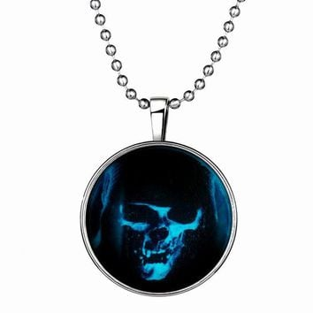 Fashion Halloween Skull Pendant Necklace Luminous necklace Bloody