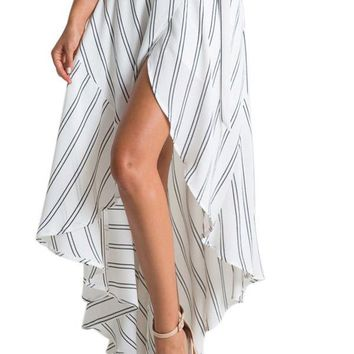 Stripe Print Asymmetrical Wrapped White Maxi Skirt