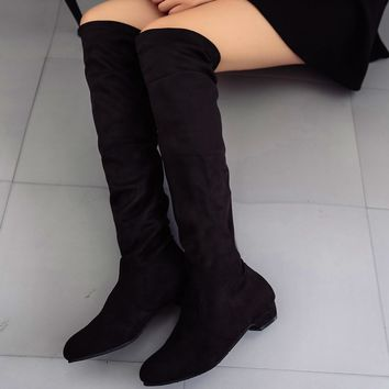"High Leg Suede Long 1"" Flat Boots"