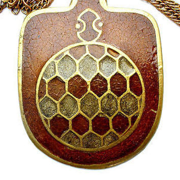 Vintage Brown Enamel Turtle Necklace Brass Chain Figural India