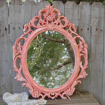 Shabby Chic Mirror, Coral, White, Oval, Upcycled, Ornate, Wedding Decor, Painted Mirror, Hollywood Regency, Baroque Mirror, Nursery Decor
