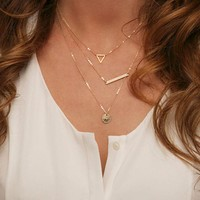 Fashion Gold Fatima Hand 3 Layer Chain Triangle Necklace Long Bar Jewelry and Metal Plate Round Disk Pendant Necklaces   171213