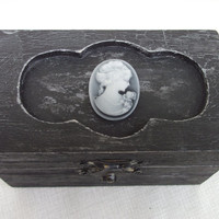 Burlesque Vamp Victorian Wedding Ringbearer Pillow Box Gothic BLack and Gray Crackle Heart Trinket BOx