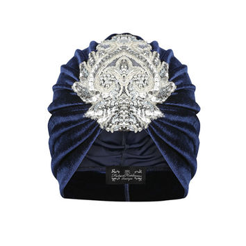 Gloria Velvet Turban in Navy and Silver